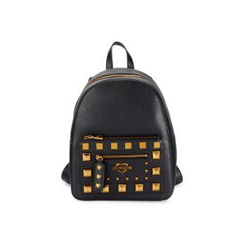Рюкзак из искусственной кожи с заклепками LOVE Moschino