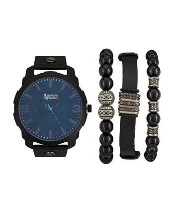 Мужские черные аналоговые кварцевые часы и праздничный штабелируемый подарочный набор American Exchange
