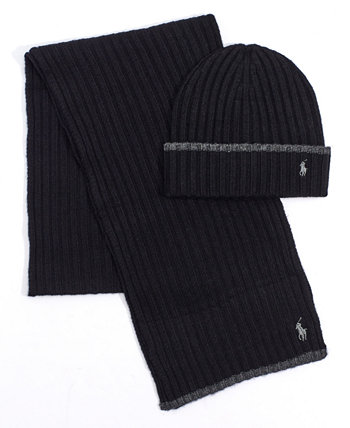 Men's Classic Ribbed Hat and Scarf Set Ralph Lauren