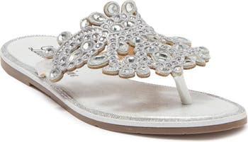 St. Tropez Flat Crystal Sandals Lauren Lorraine