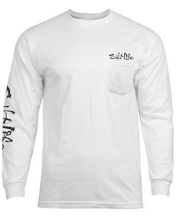 Мужская футболка с длинным рукавом и карманом с надписью Weeding Dive Flag Salt Life