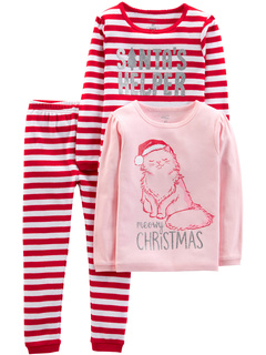 Рождественский пижамный комплект из трех частей из хлопка (для маленьких и больших детей) Simple Joys by Carter's