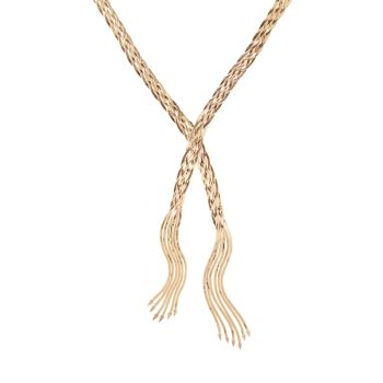Колье из плетеного ларита с бахромой из 14-каратного жидкого золота Lana Jewelry