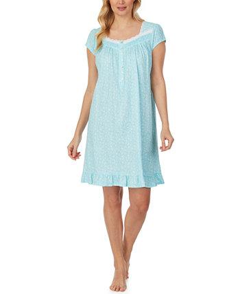 Короткая ночная рубашка из хлопка с кружевной отделкой Eileen West