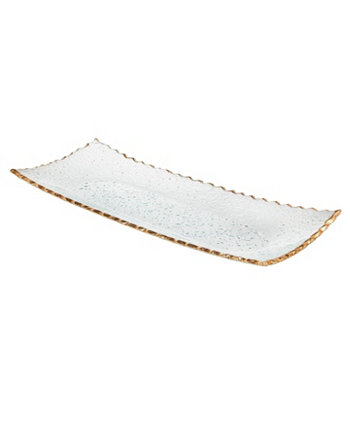 """Crystal Tray 14"""" X6"""" with Gold Band Godinger"""