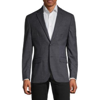 Пиджак стандартного кроя Tattersall из смесовой шерсти Tommy Hilfiger