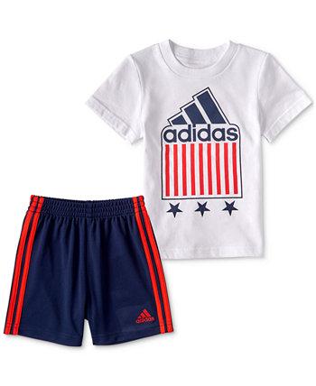 Комплект футболки и шорт с рисунком для маленьких мальчиков, 2 предмета Adidas