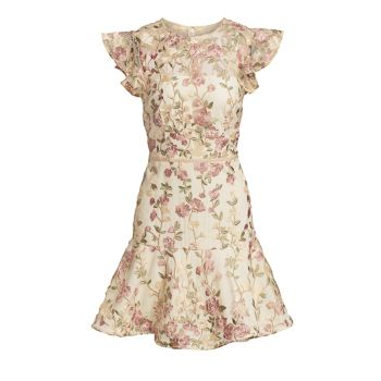 Embroidered Floral Overlay Cocktail Dress ML Monique Lhuillier