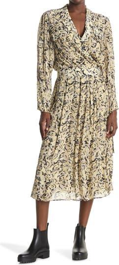 Платье с запахом и поясом с длинными рукавами и вырезом на воротнике Proenza Schouler