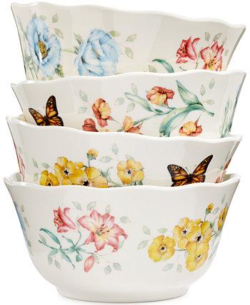 Набор из 4 универсальных мисок с меламиновым лугом Butterfly Meadow Lenox