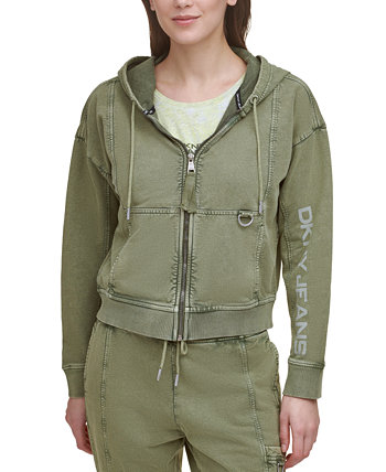 DKNY Cotton Graphic Zippered Hoodie DKNY Jeans