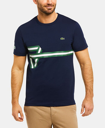 Мужская хлопковая футболка с короткими рукавами и рубашкой Heritage Lacoste