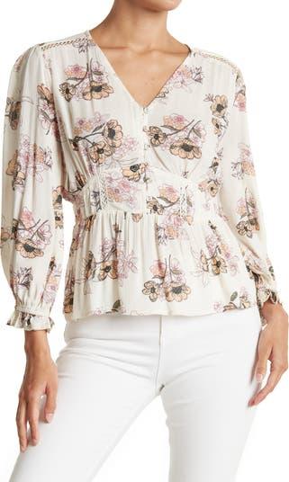 Марлевая блуза с цветочным принтом и баской по краю American Rag