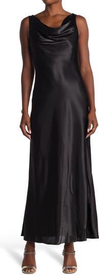 Атласное платье без рукавов с воротником-хомутом MARINA