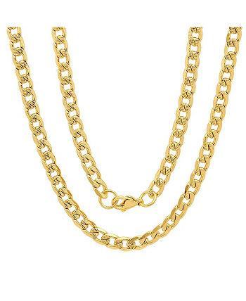 Мужские позолоченные 18-каратные золотые ожерелья из нержавеющей стали с акцентом 8 мм на кубинской цепочке 24 дюйма STEELTIME
