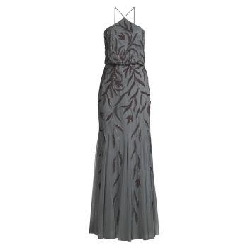 Вечернее платье с вырезом под горло Aidan Mattox