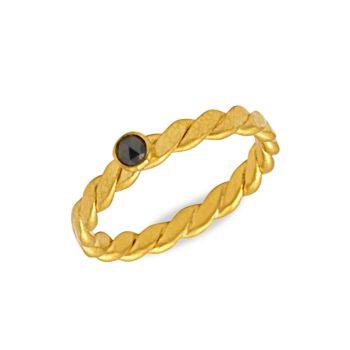 22K & amp; Желтое золото 24 карат & amp; Кольцо Twist Stacking Ring с черным бриллиантом Gurhan