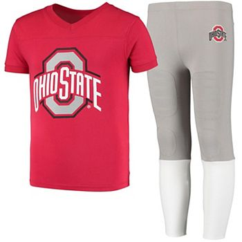 Youth Wes & Willy Scarlet/Gray Ohio State Buckeyes Team Football Pajama Set Unbranded