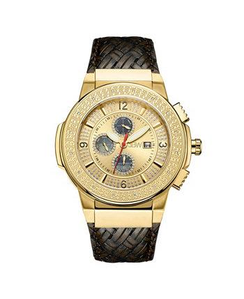 Мужские часы из нержавеющей стали с позолотой 18 карат с бриллиантом Saxon (1/6 карата) из нержавеющей стали JBW