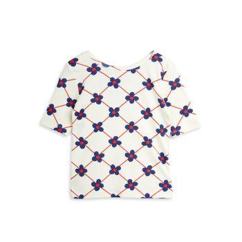 Маленькая девочка & amp; Топ для бюллетеней в клетку из органического хлопка с цветком для девочек Mini rodini