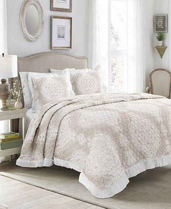 Комплект постельного покрова из 3 предметов из хлопка Lucianna с рюшами и краями King Lush Décor