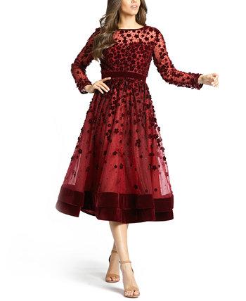 Платье миди Fit & Flare с цветочным декором MAC DUGGAL