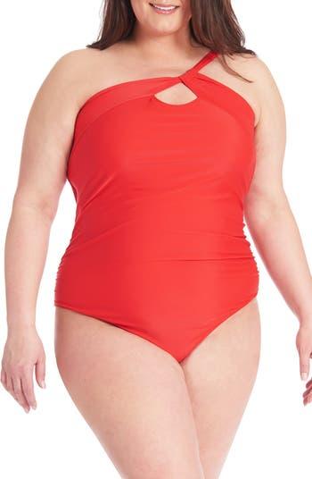 Сплошной купальник на одно плечо со сборками и сборками Rachel Roy