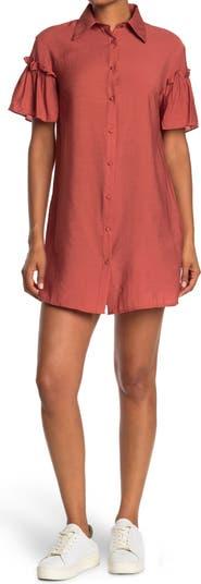 Платье-рубашка с короткими рукавами и оборками ONE ONE SIX