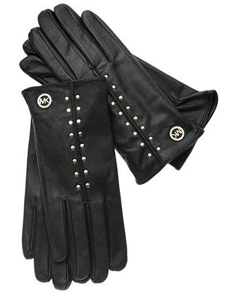 Кожаные перчатки с шипами Astor Michael Kors