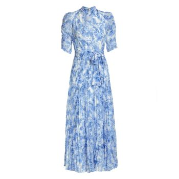 Плиссированное платье-миди с принтом и завязками ML Monique Lhuillier