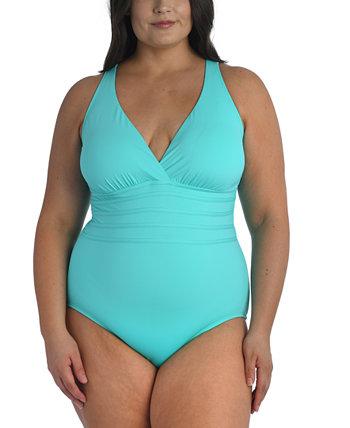 Сплошной купальник больших размеров с перекрестной спиной и контролем живота La Blanca
