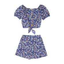 Girls 7-20 Speechless Floral Cropped Tie Front Top & Skort Set in Regular & Plus Size Speechless