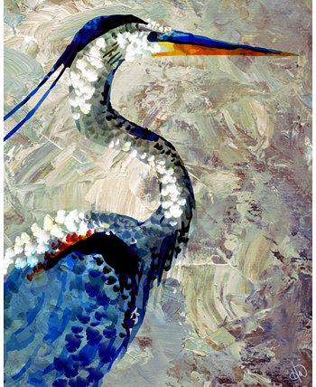 "Журавль с синими перьями 20 ""x 16"" Картина на холсте Creative Gallery"