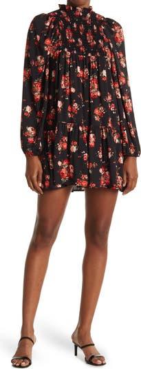 Платье со сборками и цветочным принтом с воротником-стойкой Cotton Emporium