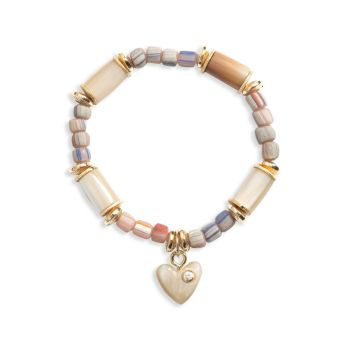 Jasmine Horn & Glass Bead Heart Charm Stretch Bracelet AKOLA