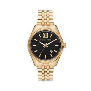 Часы Lexington с 3 стрелками из нержавеющей стали с золотым браслетом Michael Kors