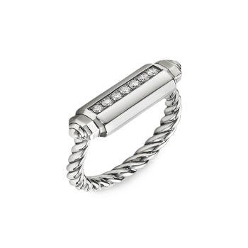 Lexington Sterling Silver & amp; Кольцо с бриллиантовой бочкой David Yurman