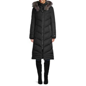 Maycee Down-Fill & amp; Пальто с меховой отделкой из серебристой лисы Soia & Kyo