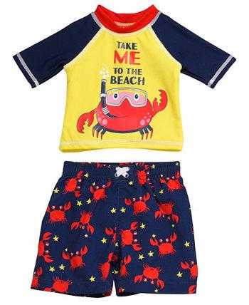Набор из двух частей Rashguard для младенцев с изображением краба с маской и трубкой Wetsuit Club