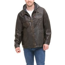 Big & Tall Levi's® Faux-Leather Sherpa-Lined Hooded Jacket Levi's®