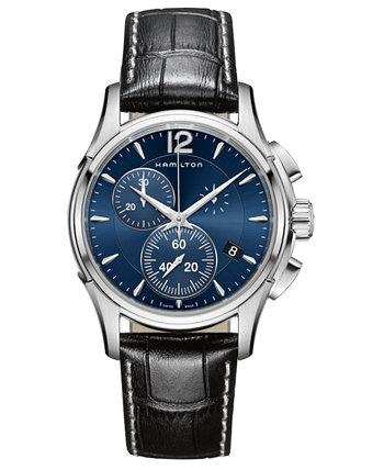 Мужские швейцарские часы с хронографом Jazzmaster с черным кожаным ремешком, 42 мм Hamilton