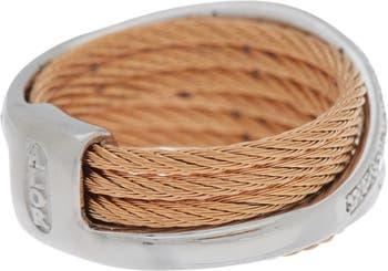Диагональное алмазное кабельное кольцо - размер 7 - 0,27 карата ALOR