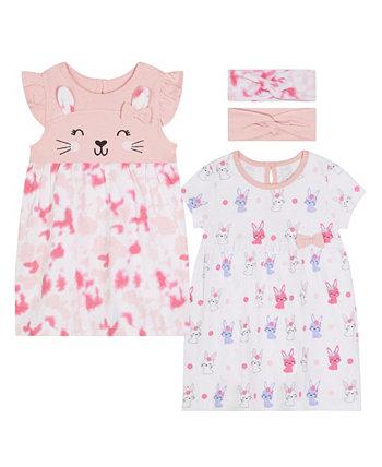 2 пары платьев с кроликом для маленьких девочек с повязкой на голову Koala baby