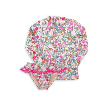 Baby Girl's & Little Girl's Ditsy Floral Print Rashguard Set Shade critters