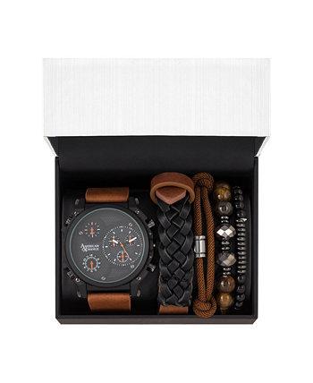 Мужские черные / коричневые аналоговые кварцевые часы и стекируемый подарочный набор American Exchange