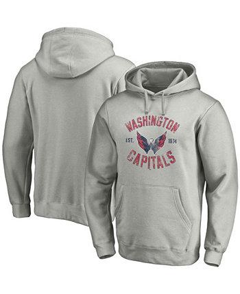 Толстовка с капюшоном мужская серого цвета с перьями Washington Capitals Heritage Fanatics