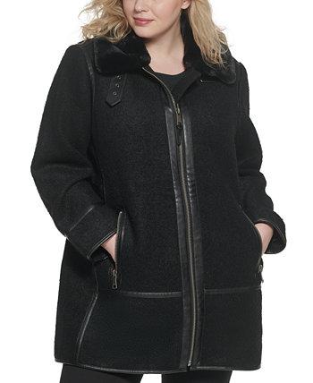 Мотоциклетное пальто больших размеров с воротником из искусственного меха DKNY