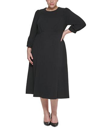 Платье миди больших размеров с объемными плечами Calvin Klein