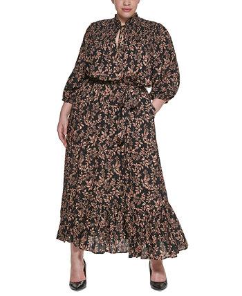 Платье макси Challis большого размера с цветочным принтом и завязкой на воротнике Calvin Klein