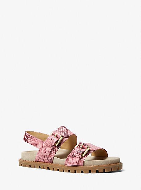 Кожаные сандалии с тиснением под змею Judd Michael Kors